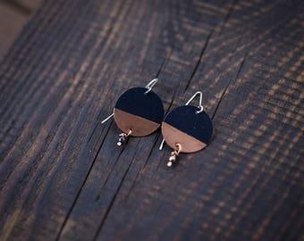 Simple earrings Minimalist earrings Geometric earrings Simple jewelry Mixed metal earrings Navy blue Minimalist jewelry Geometric jewelry