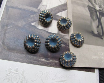 Set of 6 Small Plastic Blue Gold Retro Shank Buttons