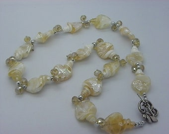 long necklace made Lampwork beads by hand with Crystal beige 65 cm