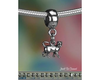 Tiny Cat Charm or European Style Charm Bracelet .925 Sterling Silver