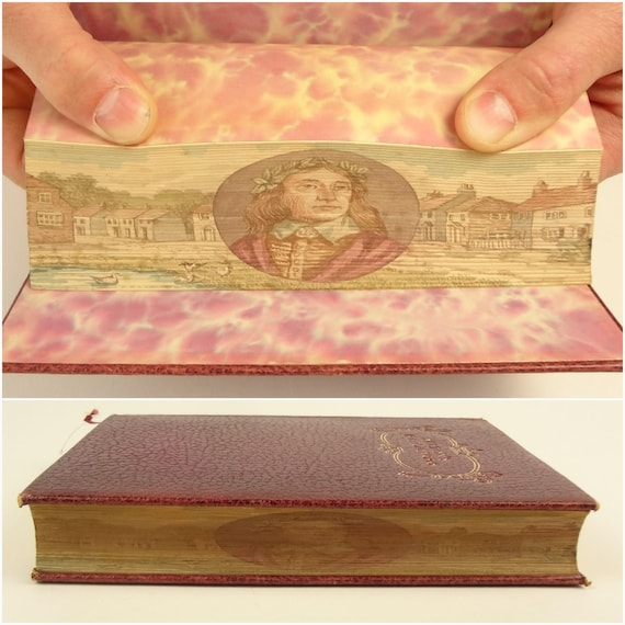 1929. Fore-edge painting of John Milton. Paradise Lost, Regained, etc.. Poetic Works of Milton