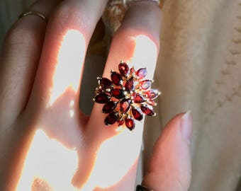 Gorgeous sterling vermeil garnet cluster ring