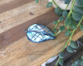 Sterling Silver Abalone Leaf Brooch / Made in Mexico / Hecho En Mexico / Pin / Mexican / Vintage