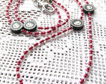 Badge or Eyeglass Lanyard Beaded in Seed Beads and Polyclay Beads