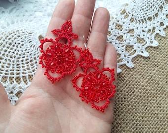 Red earrings  tatting jewelry Earrings  Viola Chandelier Earrings lace earrings gift for her lace jewelry