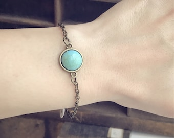 Faux Turquoise Bracelet / Simple Everyday Bohemian Boho Lover Bridesmaids Bridal Party Gift Favor Style Country Anklet Gift for Teens Women