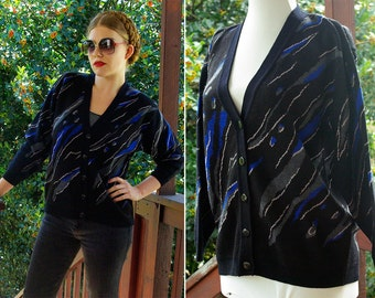 New WAVE 1980's Vintage Black + Blue Cardigan Sweater with Abstract Splashes // by CAMELA // size 36 Medium