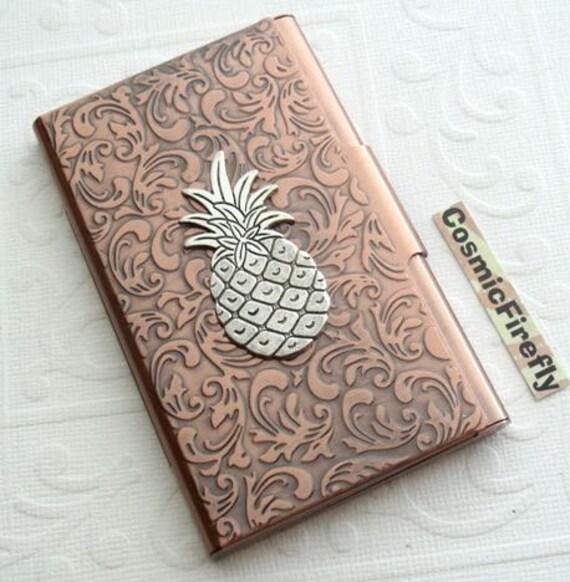 Silver pineapple card case copper business card case card colourmoves
