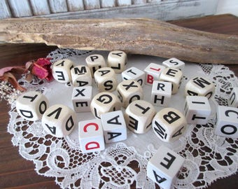 Letter  dice collection of dice - game dice  alphabet - mixed media - vintage dice-dice-games-assemblage