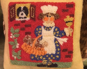 Primitive Punchneedle Embroidery Pattern Hot Cross Buns