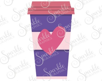 Heart Coffee SVG I Love Coffee Cup Cute Java Latte Coffee Mocha Tea Clipart Svg Dxf Eps Png Silhouette Cricut Cut File Commercial Use