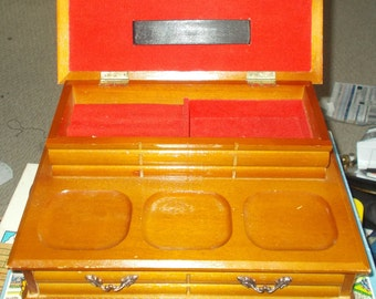 Beautiful Solid Wood Wooden Jewellery Box Flip Top Lid Drawer Rings Watches Chains trinket 1970's Red Velvet Lined