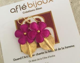 Flowers - purple earrings