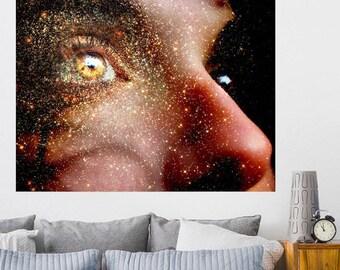 """Golden art, woman portrait, surreal collage art, women art print, abstract art, gold art print, mixed media collage art - """"Golden Thoughts""""."""