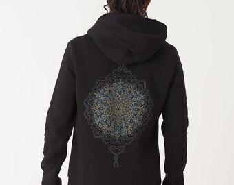 Mens Sacred Geometry Hoodie, Black Hoodie, Mandala, Zip Up Hoodie, Psychedelic Trippy Clothing, Burning Man Festival Hoodie, Grey Hoodie