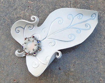 Snow White Elven Leaf Leather Hair Barrette with Beaded Cabochon and Swarovski Crystal Accents - Winter Hair Clip, Leather Accessory