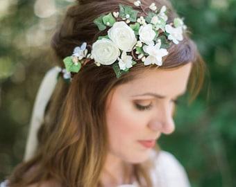bridal headband, bridal hair piece, ivory flower crown, wedding hair accessories, bridal flower crown, bridal halo, floral headband #93