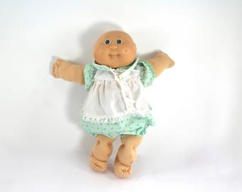 Vintage 1984 Cabbage Patch Kid Preemie baby girl - green eyes, dimple, clothes, dress, Coleco, 1980s toys, 80s dolls