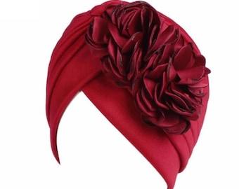 Maroon red flower head cap turban Hijab beanie chemo hat