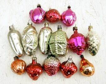 Vintage Christmas ornament, Vintage glass ornament, Christmas decoration - set of 14 - t379