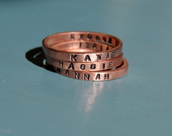 1 Hand Forged and Stamped Stacking Copper Ring with Inside and Outside Custom Message