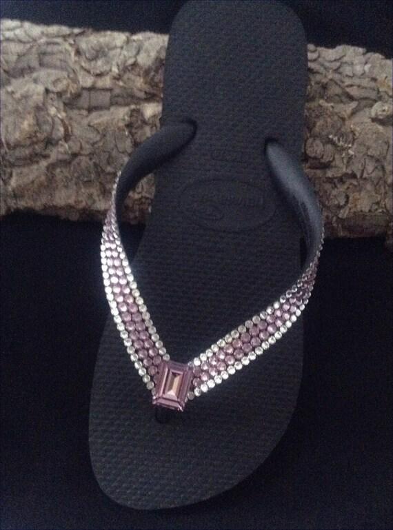 Purple Flip Flops Custom Crystal Light Amethyst Lilac Lavender w/ Swarovski Rhinestone Jewel Havaianas Cariris Wedge Beach Wedding Shoe
