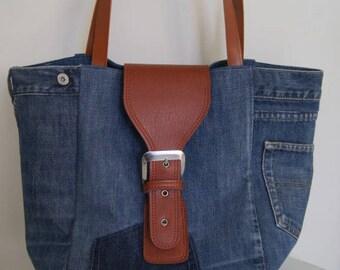 Blue recycled denim tote bag