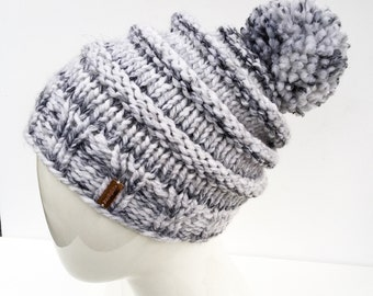 """Knit Slouchy Hat with Pom Pom , Knit Hat Pom Pom, Gifts under 30, Knit Hat, Winter Hat, Women's Gifts, Christmas Gifts, """"Marble"""""""