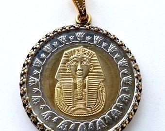 Teacher Gift Coin Necklace Pendant Egyptian Tutankhamun Pharaoh Gold Silver King Tut Egypt Vintage Jewelry Royal Unique Charm Finding