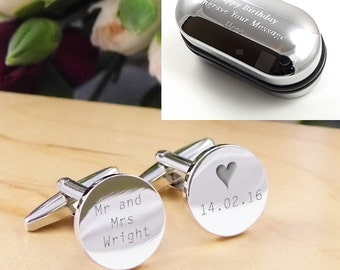 Silver Personalised Engraved Surname ROUND Wedding Cufflinks - Personalised Engraved Gift Box Available