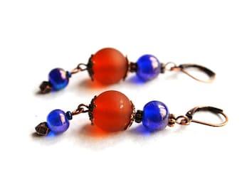 Dangle Glam Vintage look glass beaded earrings Copper jewelry Versatile classic earrings Elegant blue burnt orange earrings Casual jewellery