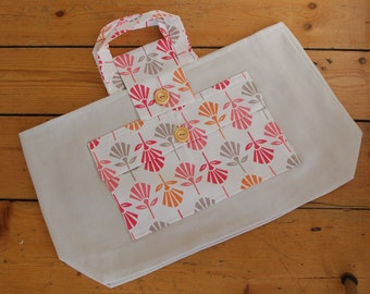 Knitting tote bag, yarn bag, knitting tidy, crochet bag, embroidery bag,