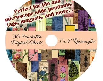 """CD 30 Printable Collage Digital Sheets - 1"""" x 3"""" Rectangle Images for Microscope Slide Pendants Tags Magnets"""
