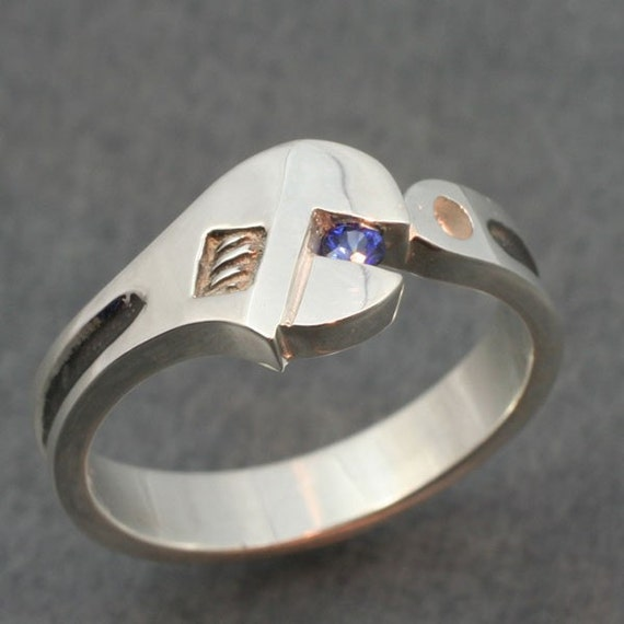 WRENCH WEDDING BAND with Genuine Sapphire A real wedding