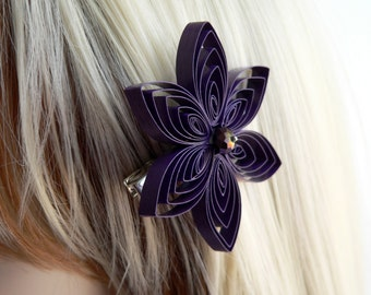 Purple Hair Clip, Amethyst Hair Flower, Purple Wedding Hair Accessory