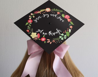 Graduation Cap Decal | Jesus Java and Joy Got Me Through | DOWNLOAD ONLY | Flower Accent | Flowers | Coffee Quote | Grad Cap