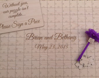 Wedding Package 100-300 pieces Custom Wedding Guest Book Puzzle with Sign and Pen