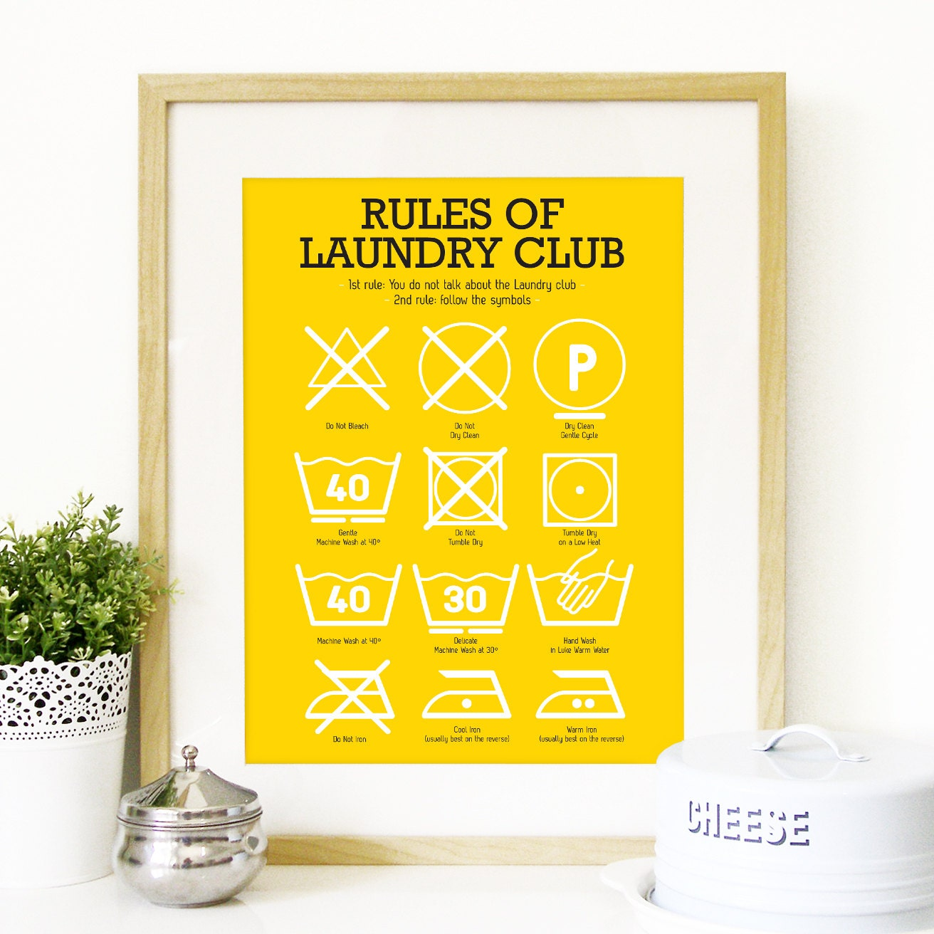 Kitchen Laundry Club Poster Art with laundry symbols explained