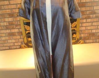 Vintage 50s Dupioni Silk Spring Coat Jacket Gunmetal Gray