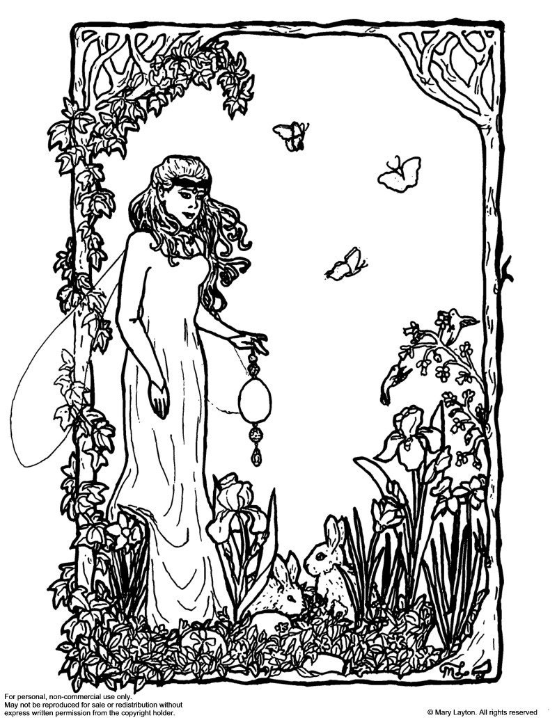 spring equinox coloring pages | Downloadable coloring page Ostara Easter fantasy art nouveau