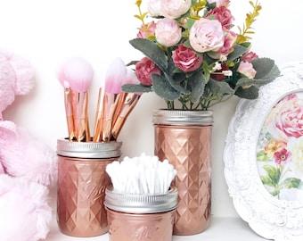Rose gold makeup brush holder, copper desk accessories, Mason Jar, copper office decor, desk tidy, makeup storage, vase, rose gold decor