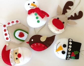 Felt Christmas Ornament. Felt Christmas Decoration. Stocking Stuffer. Felt Santa. Felt Snowman. Felt Reindeer. Felt Robin - Set of 6