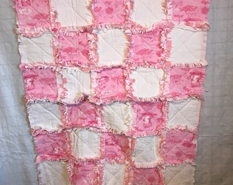 Baby Rag Quilt - Bears - Pink and White Flannel