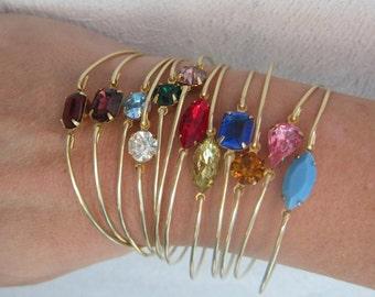 Simulated Birthstone Bracelet, Rhinestone Simulated Birthstone Jewelry, Choose Month, Sim Birth Stone Bracelet, Sim Birth Stone Jewelry