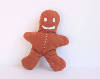 Durable Felt Gingerbread Man Dog Toy - Medium/Large Squeaky/Non-Squeaky Holiday/Christmas Plush Chew Toy - Brown Large Dog/Puppy Gift