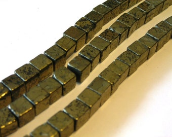 Pyrite gemstone cubes 10 beads