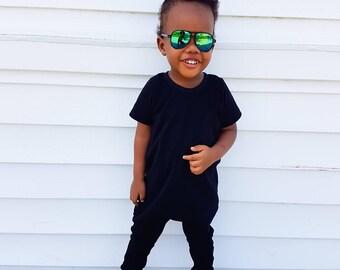 Baby Romper - harem romper- black romper - striped romper - toddler romper