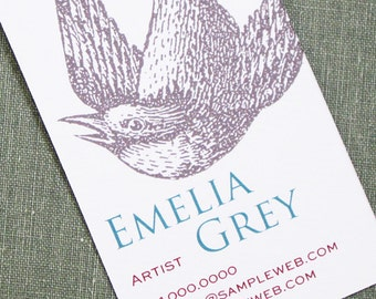Bird Business Card with hand stamped Illustration Style, Set of 50