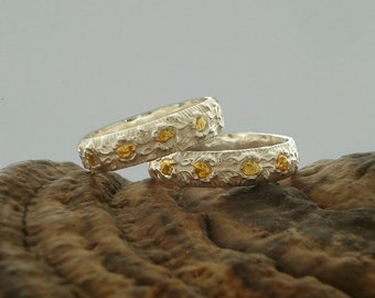 Ring Around The Roses - Sterling Silver & Natural Gold Nuggets