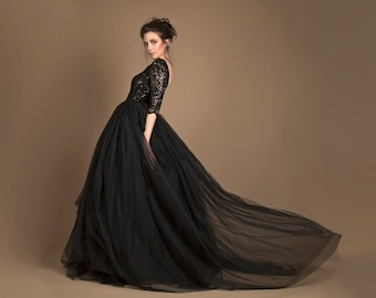 Black wedding gown in tulle, sequined black wedding dress, open back wedding dress, black bridal gown, red carpet dress, black evening gown